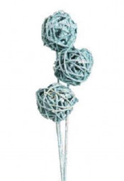 Accent Branch, Icy Blue Glitter Kamboi Ball on Stem. 3/bundle